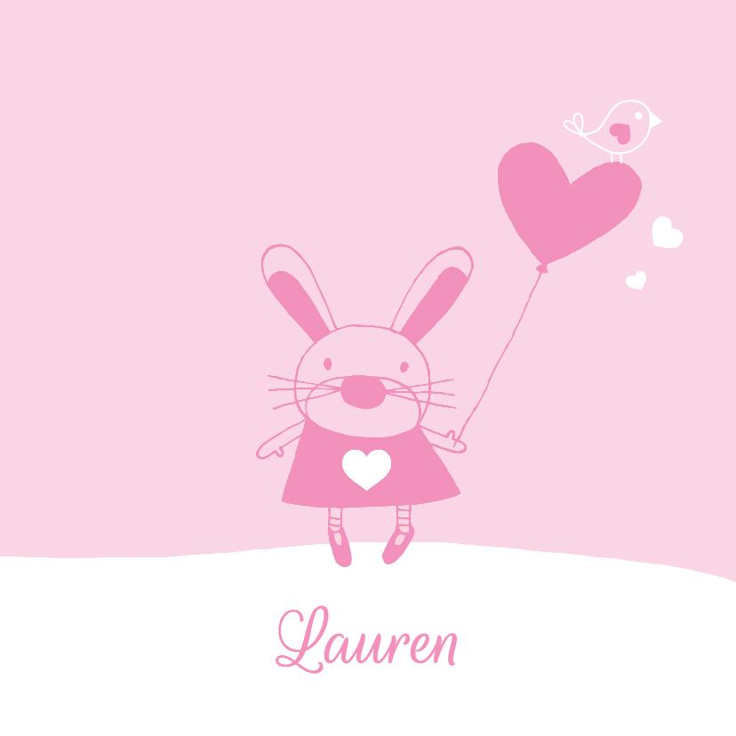 Geboortekaartjes - Geboorte meisje roze konijn Lauren - MW