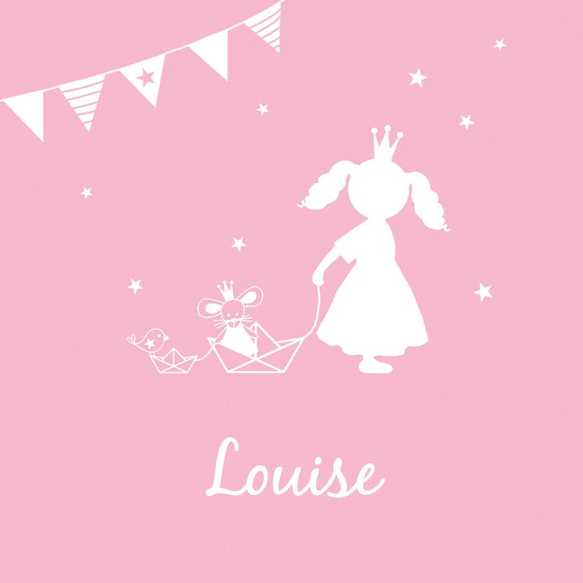 Geboortekaartjes - Geboorte meisje roze silhouet Louise - MW