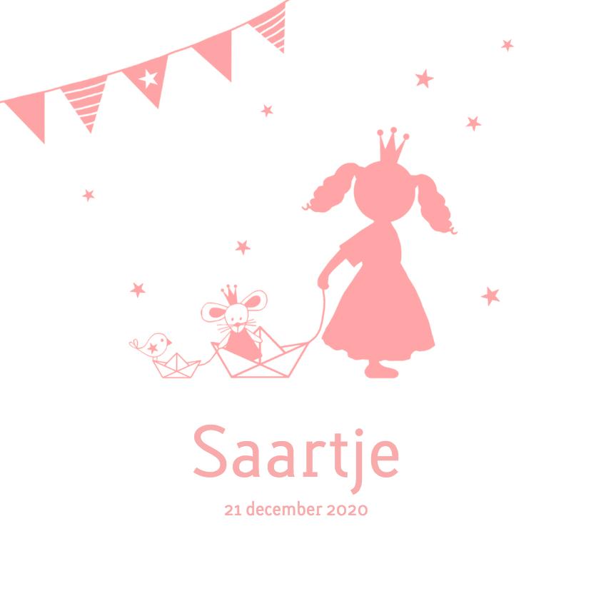 Geboortekaartjes - Geboorte meisje roze silhouet Saartje - MW