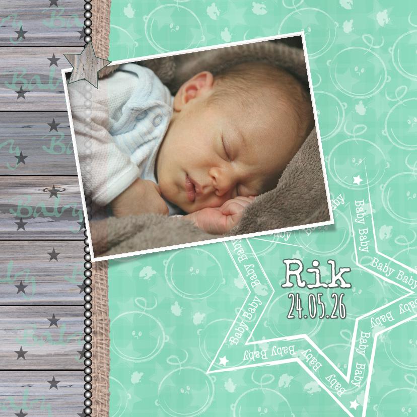 Geboortekaartjes - Geboorte mintgroen ster foto