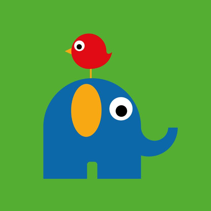 Geboortekaartjes - Geboorte - Olifant, vogel groen