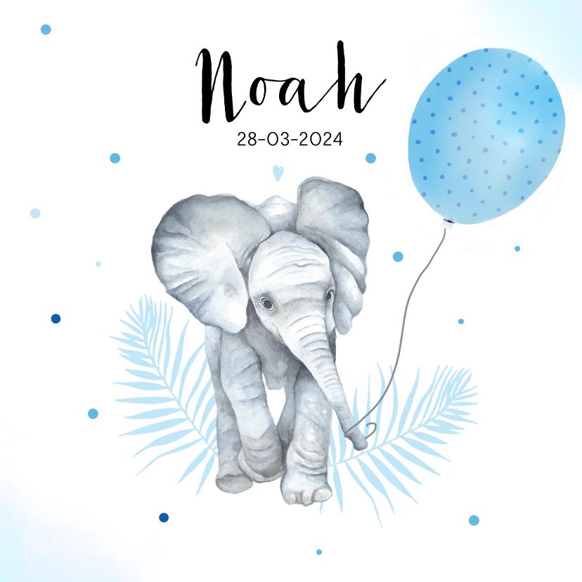 Geboortekaartjes - Geboorte olifantje ballon