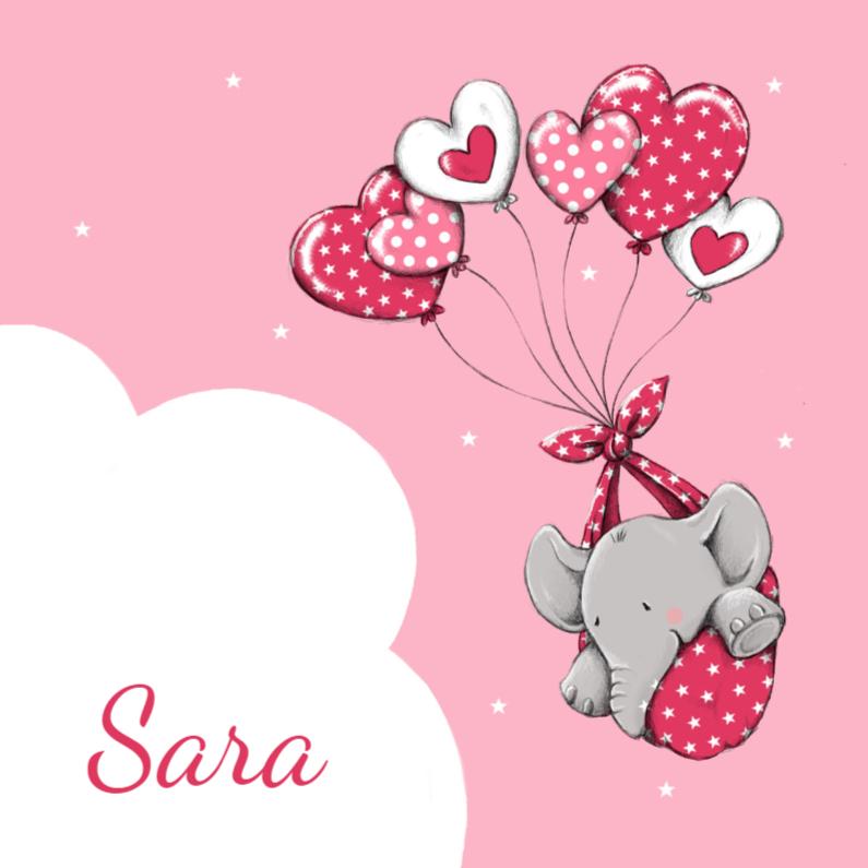 Geboortekaartjes - Geboorte olifantje harten - iH