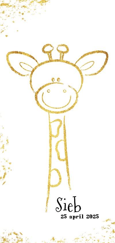 Geboortekaartjes - Geboorte origineel kaartje met goudkleurig lief girafje
