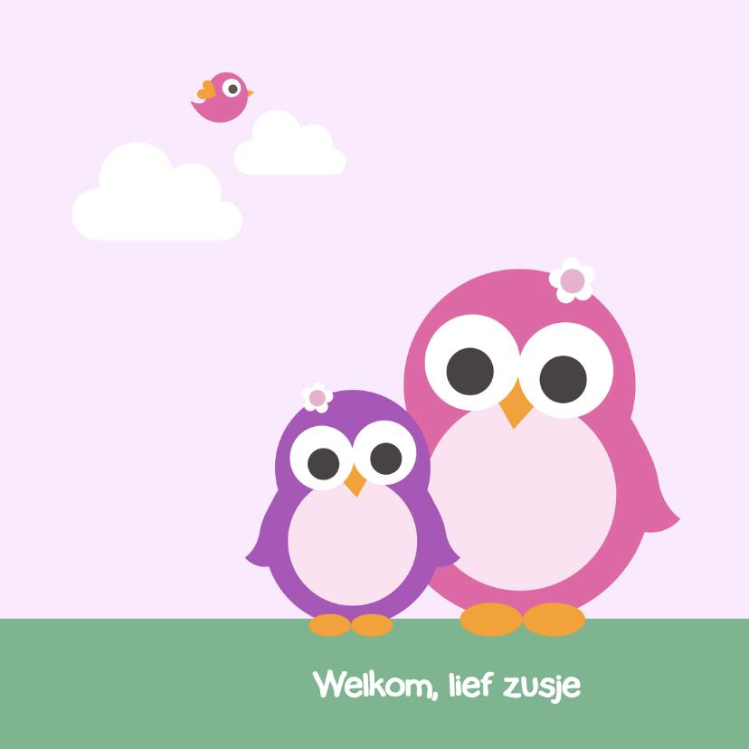 Geboortekaartjes - Geboorte - Pinguin zusjes