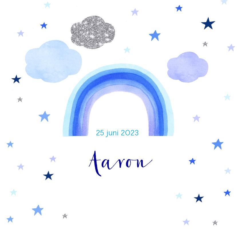 Geboortekaartjes - Geboorte regenboog wolken