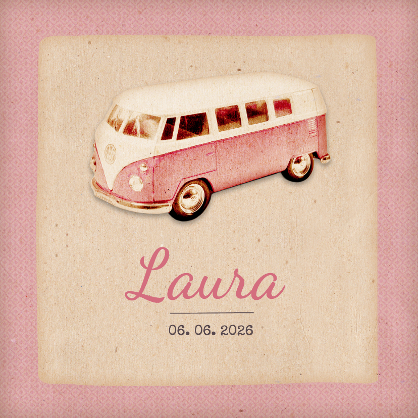 Geboortekaartjes -  Geboorte retro busje roze - BK