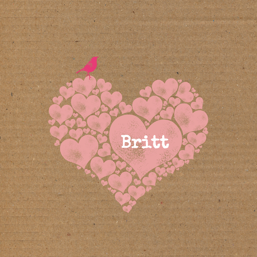 Geboortekaartjes - Geboorte roze harten karton