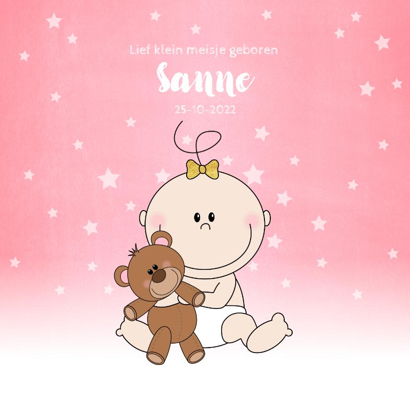 Geboortekaartjes - Geboorte schattig roze kaartje meisje met knuffelbeer