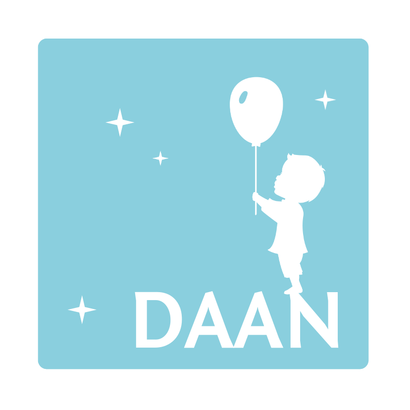 Geboortekaartjes - Geboorte Silhouet Jongen Ballon