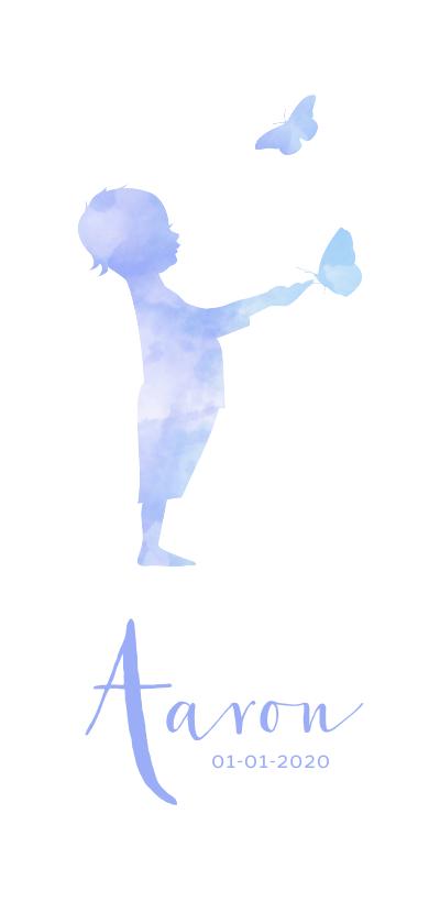 Geboortekaartjes - geboorte silhouet jongen met vlinder