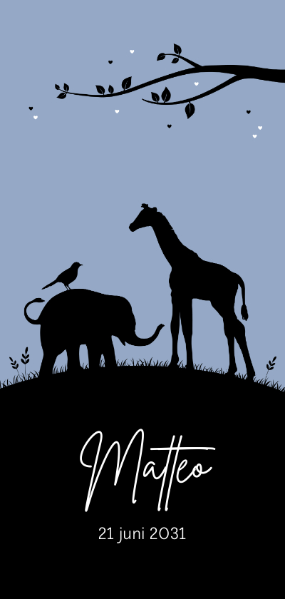 Geboortekaartjes - Geboorte - Silhouet olifantje en giraf