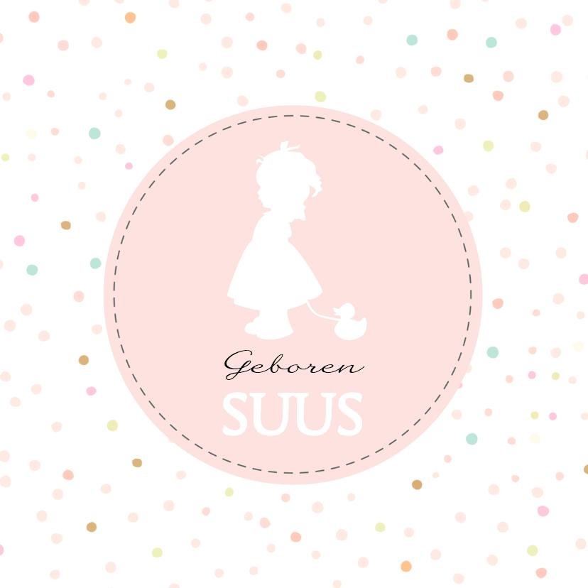 Geboortekaartjes - Geboorte silhouet suus - B