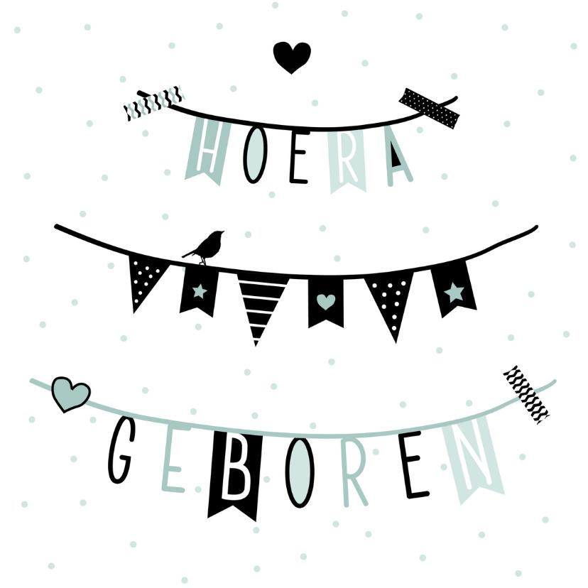 Geboortekaartjes - Geboorte - Slinger, vlag, groen