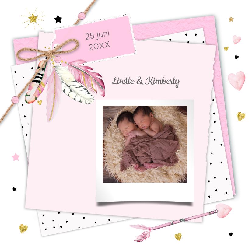 Geboortekaartjes - Geboorte tweeling label veertjes