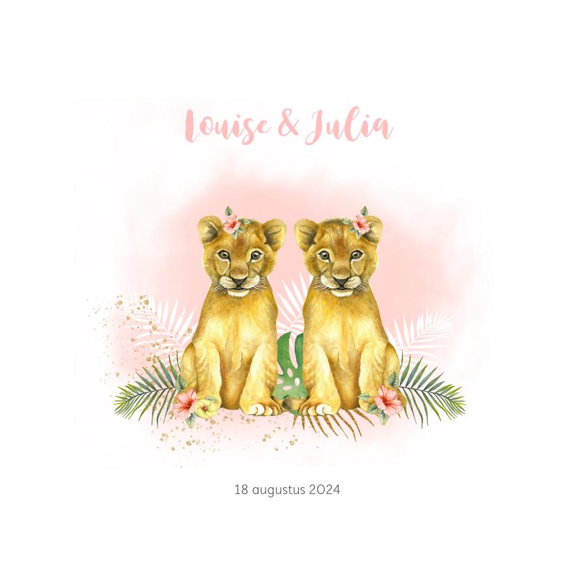 Geboortekaartjes - Geboorte tweeling meisje leeuwtjes