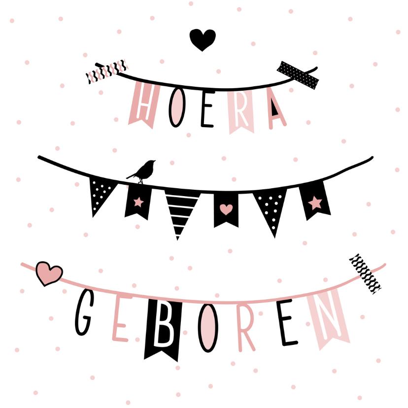 Geboortekaartjes - Geboorte - Vlag, slinger, roze
