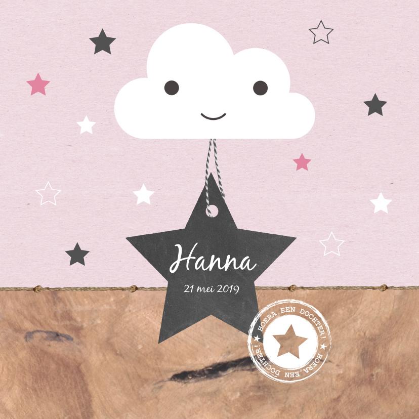 Geboortekaartjes - Geboorte - Wolkje, ster, roze