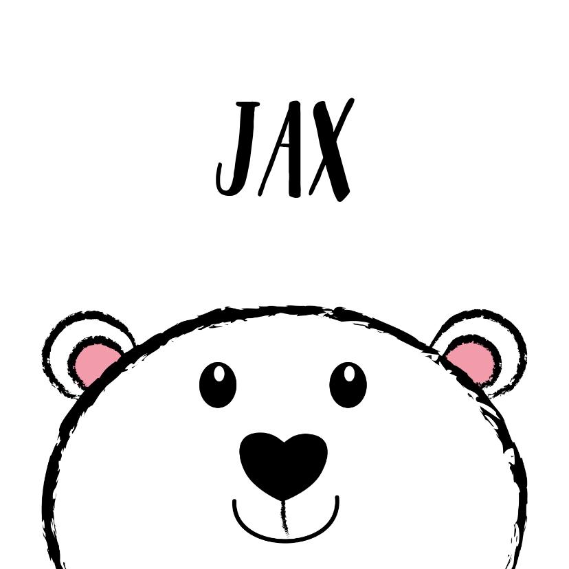Geboortekaartjes - Geboorte zwart-wit kaart lief ijsbeertje