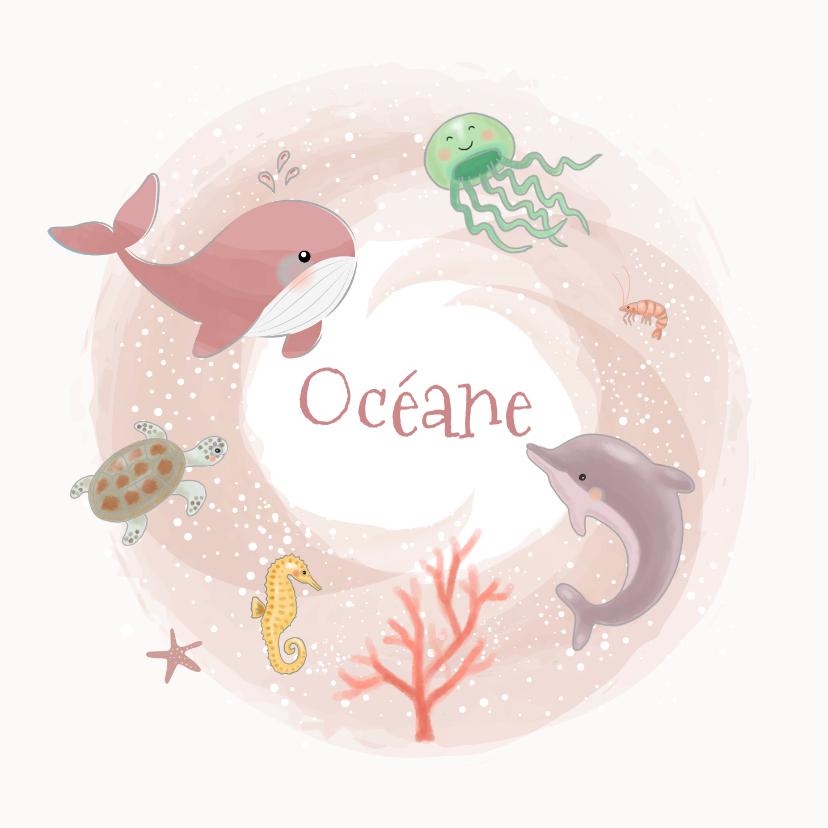 Geboortekaartjes - Geboortekaaartjes - Zeedieren meisje