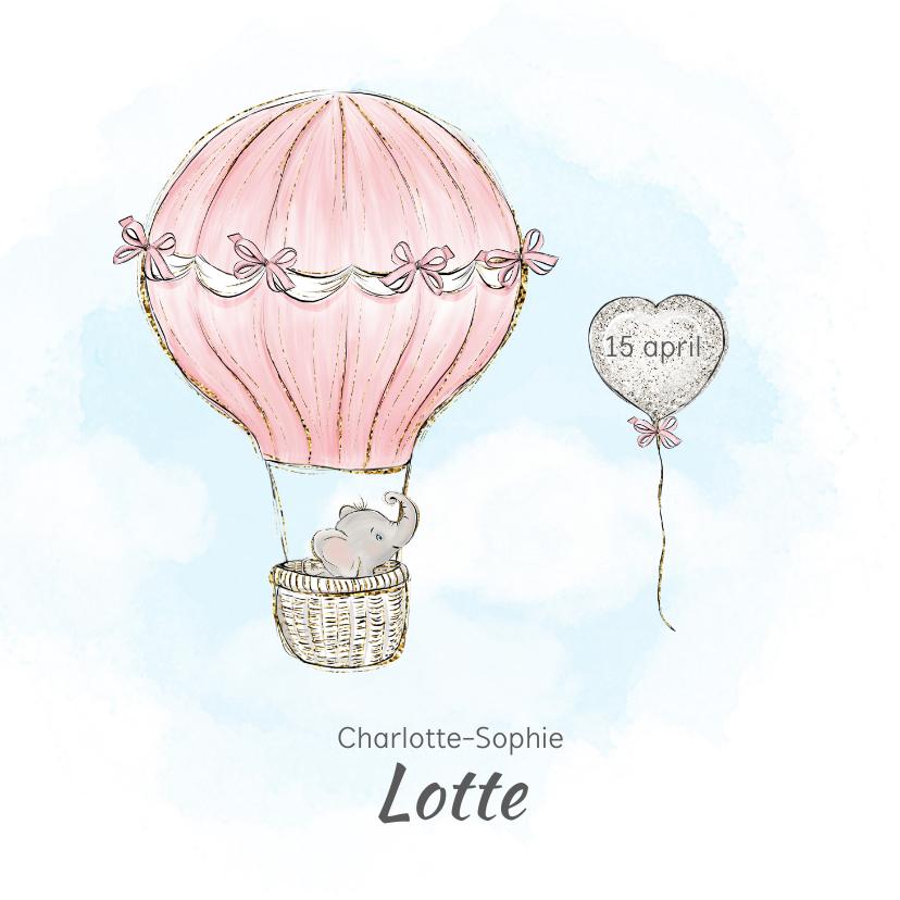 Geboortekaartjes - Geboortekaart adoptie meisje - luchtballon