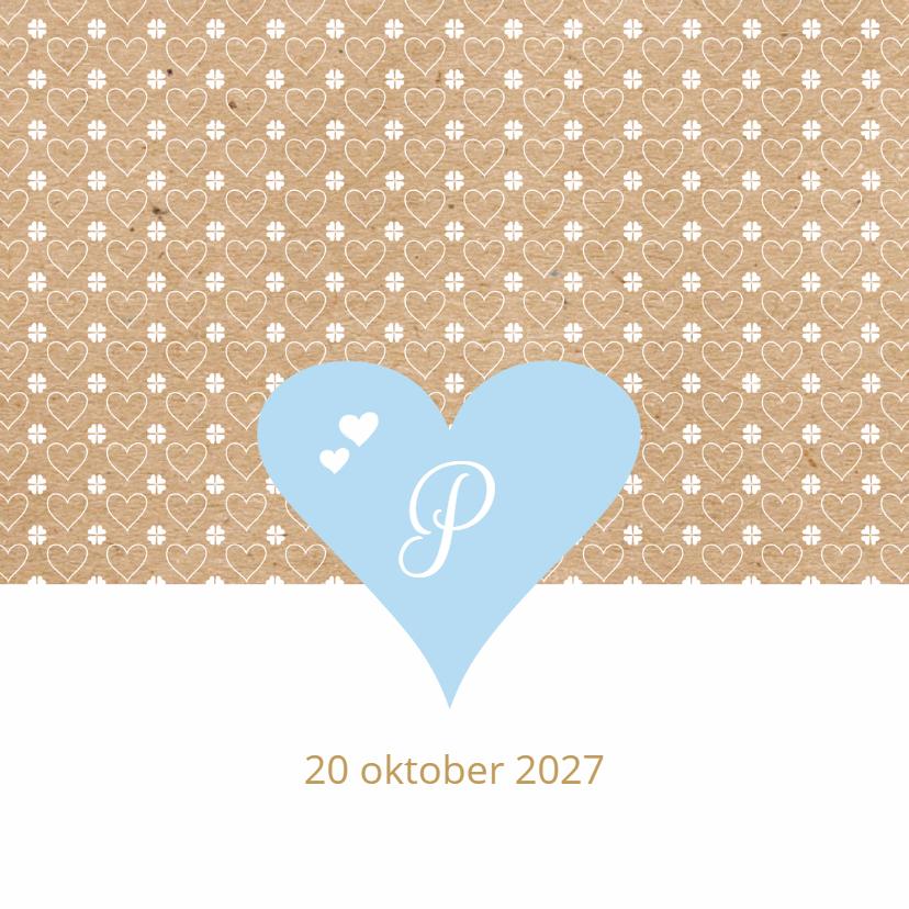 Geboortekaartjes - geboortekaart blauwe hart