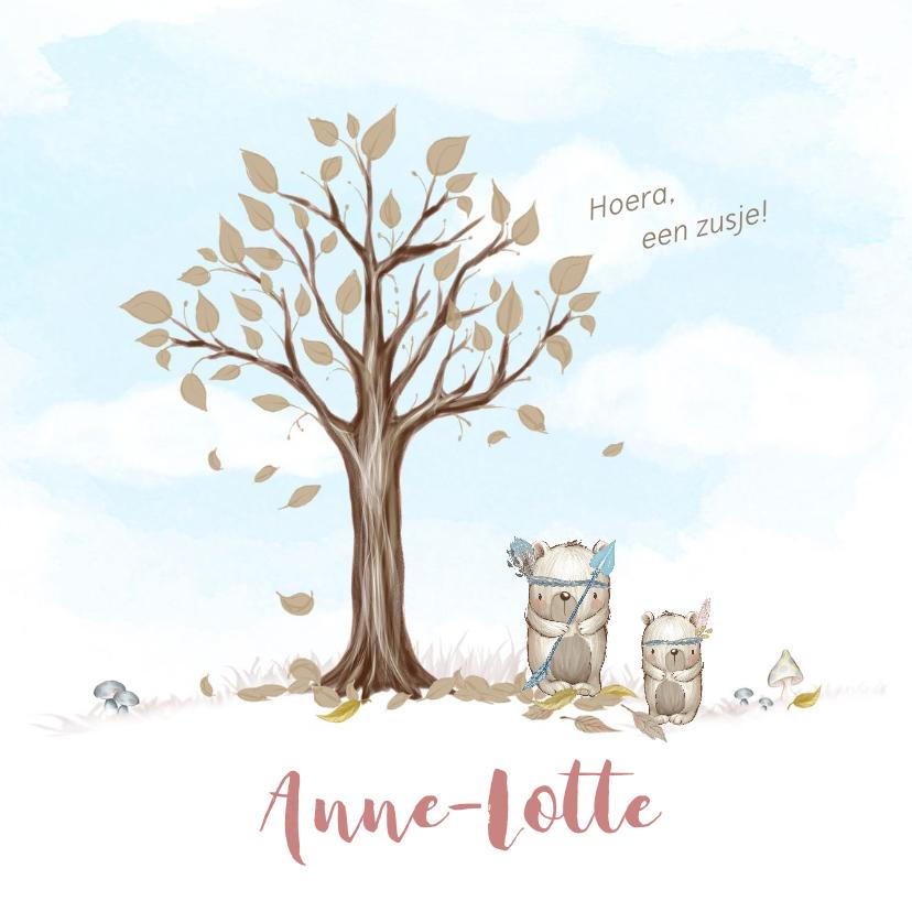 Geboortekaartjes - Geboortekaart boom, beren met veren, voor broertje of zusje