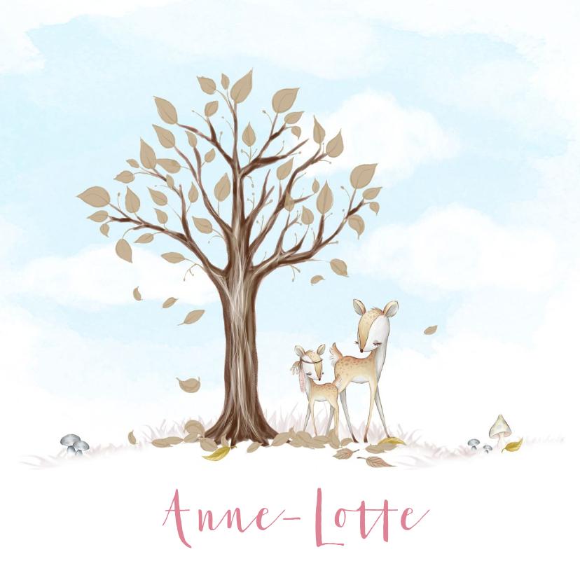 Geboortekaartjes - Geboortekaart boom, hertje met veer