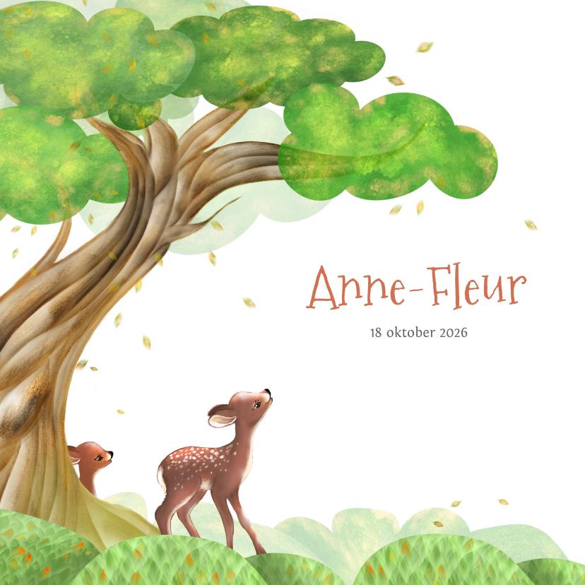 Geboortekaartjes - Geboortekaart boom, hertjes en vallende blaadjes