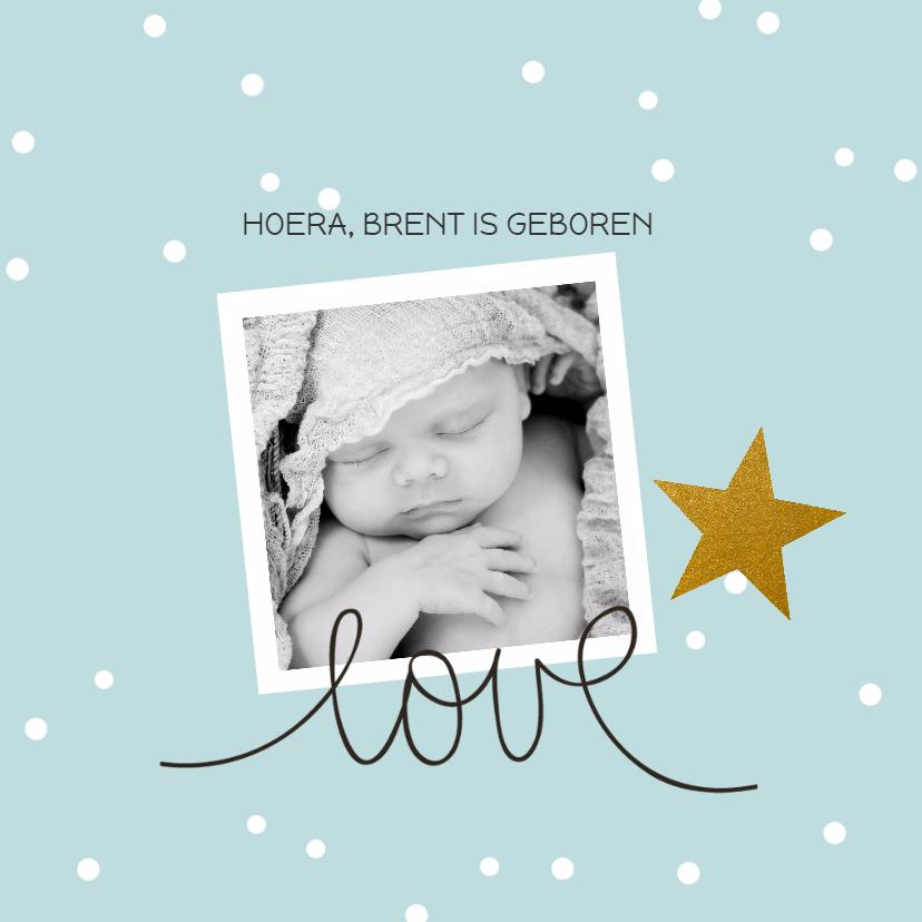 Geboortekaartjes - Geboortekaart confetti goud ster