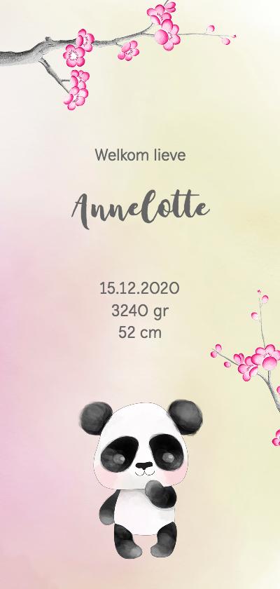 Geboortekaartjes - Geboortekaart-enkel Panda