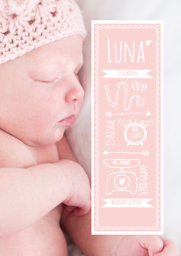 Geboortekaartjes - Geboortekaart gehaakt mutsje
