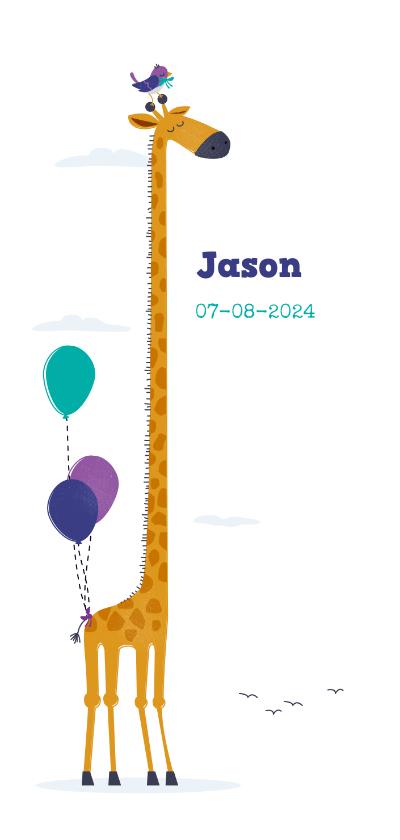 Geboortekaartjes - Geboortekaart giraf met vogeltje en ballonnen