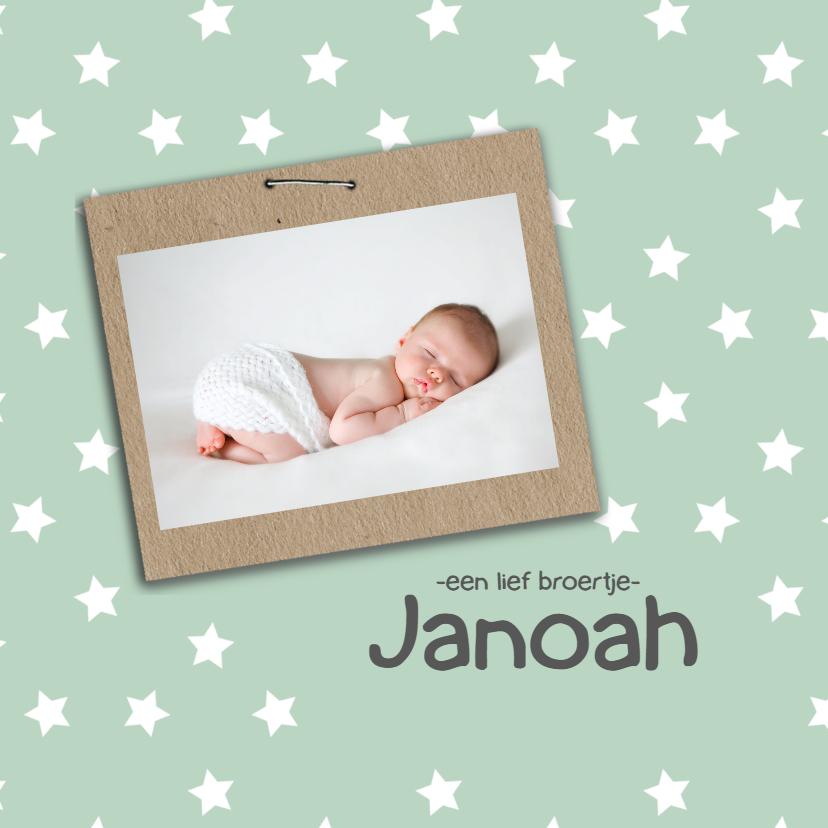 Geboortekaartjes - Geboortekaart groen met sterren