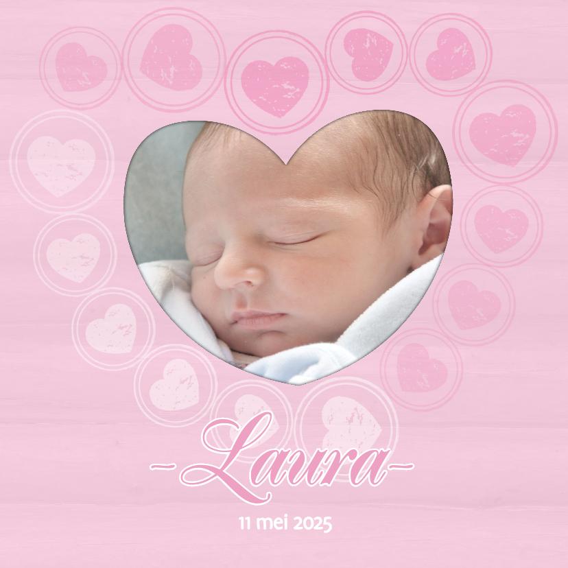 Geboortekaartjes - Geboortekaart hartjes roze - BK