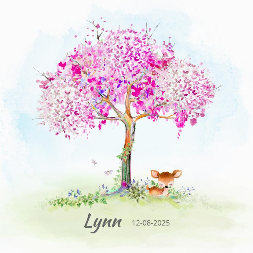 Geboortekaartjes - Geboortekaart hertje met boom-meisje