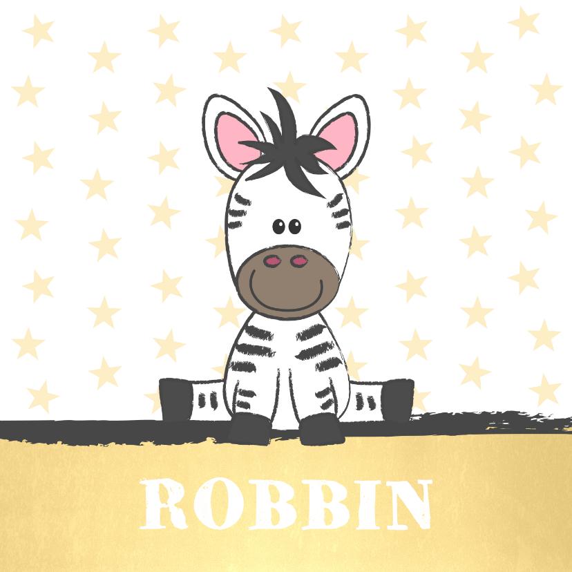 Geboortekaartjes - Geboortekaart illustratie van een schattige baby zebra
