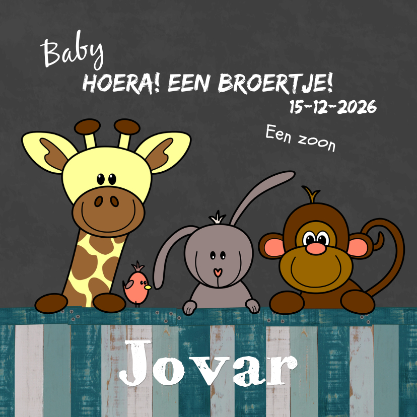 Geboortekaartjes - Geboortekaart jongen dieren HB