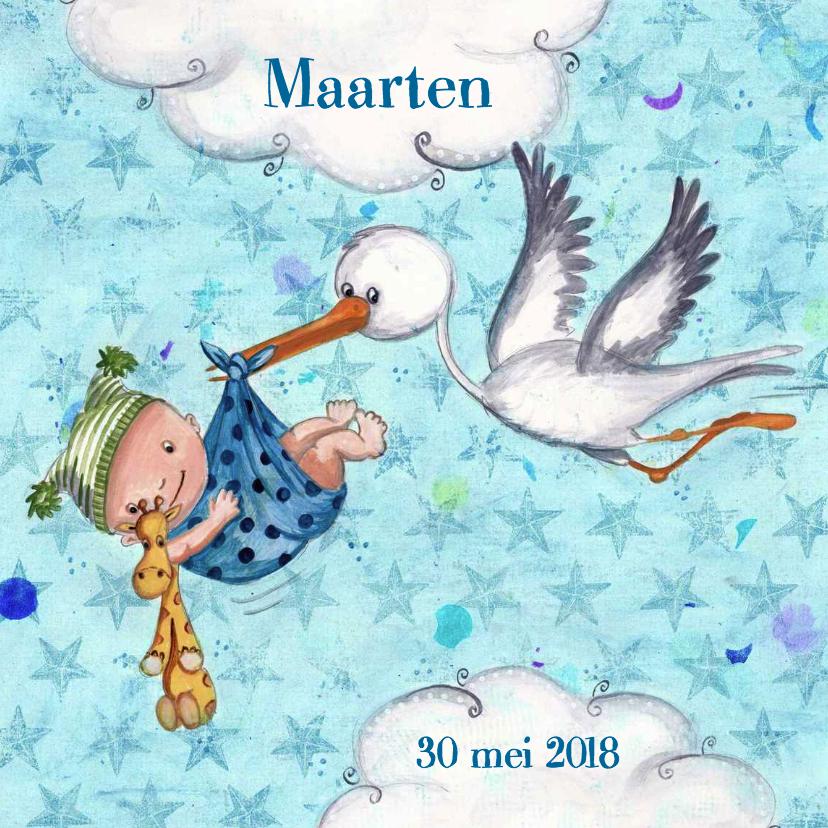Geboortekaartjes - Geboortekaart Jongen & Ooievaar Cartita