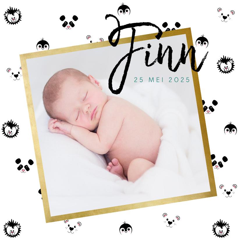 Geboortekaartjes - Geboortekaart jongen met dieren patroon en foto