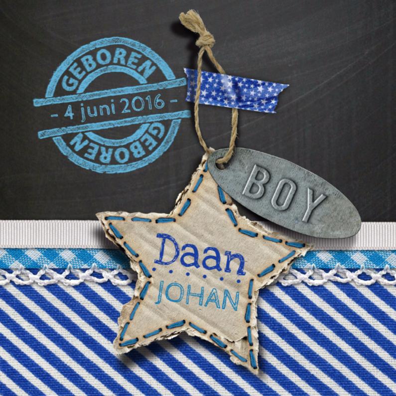 Geboortekaartjes - geboortekaart jongen ster stof