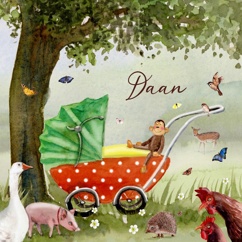 Geboortekaartjes - Geboortekaart Kinderwagen onder de boom