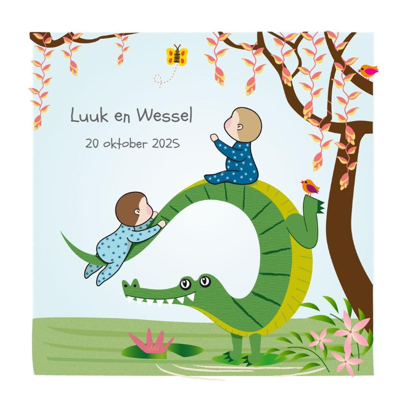 Geboortekaartjes - Geboortekaart klimmen op een krokodil