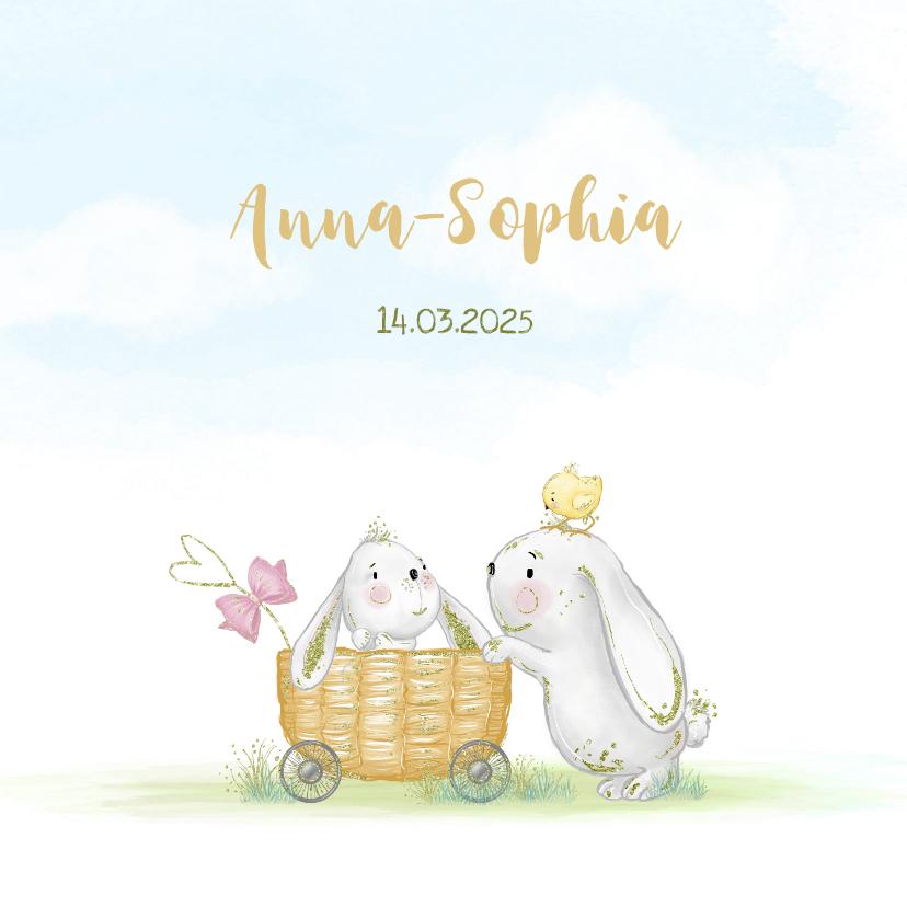 Geboortekaartjes - Geboortekaart konijn met kuikens en vlinder - meisje