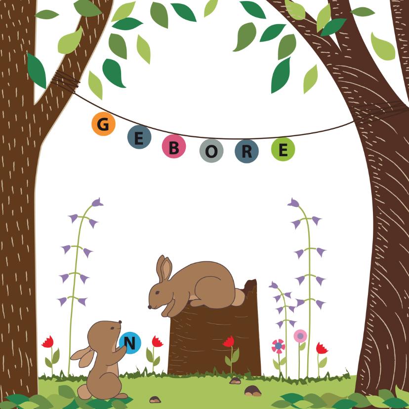 Geboortekaartjes - Geboortekaart konijn met slinger