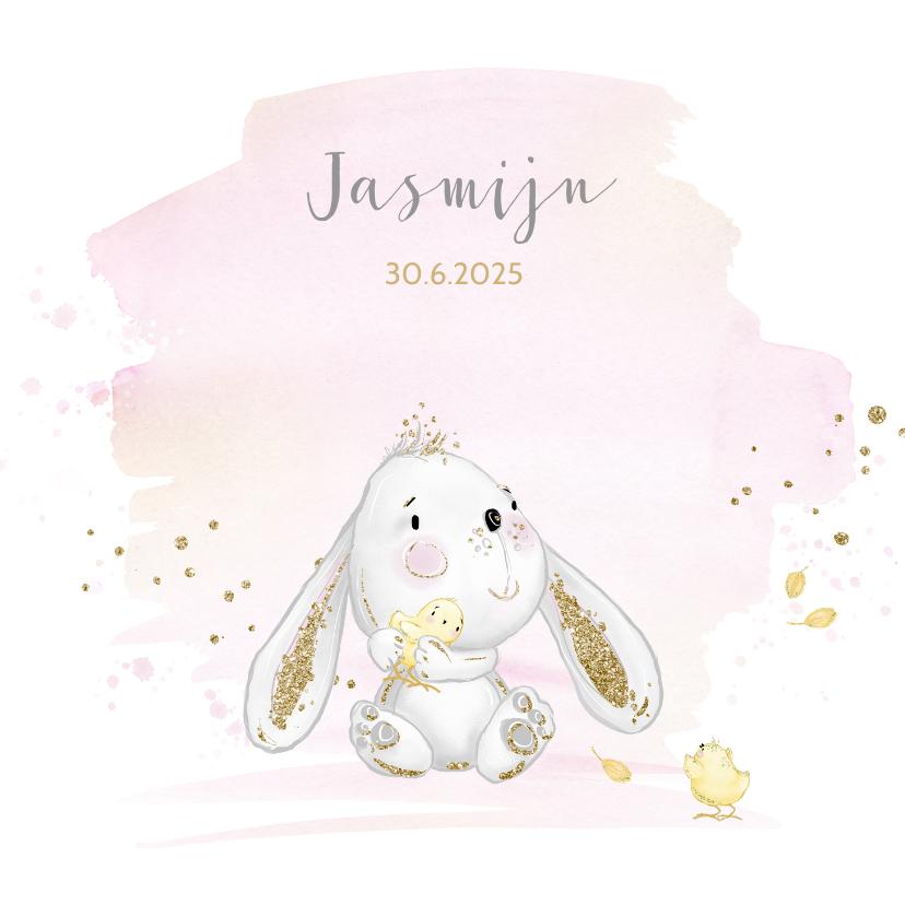 Geboortekaartjes - Geboortekaart konijntje - meisje