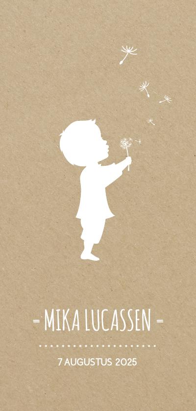 Geboortekaartjes - Geboortekaart langwerpig met silhouet jongen en paardebloem