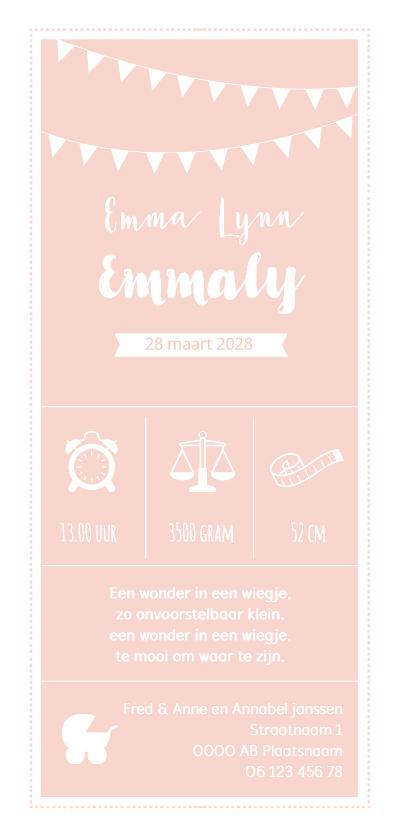 Geboortekaartjes - Geboortekaart langwerpig roze wit pictogrammen - BC