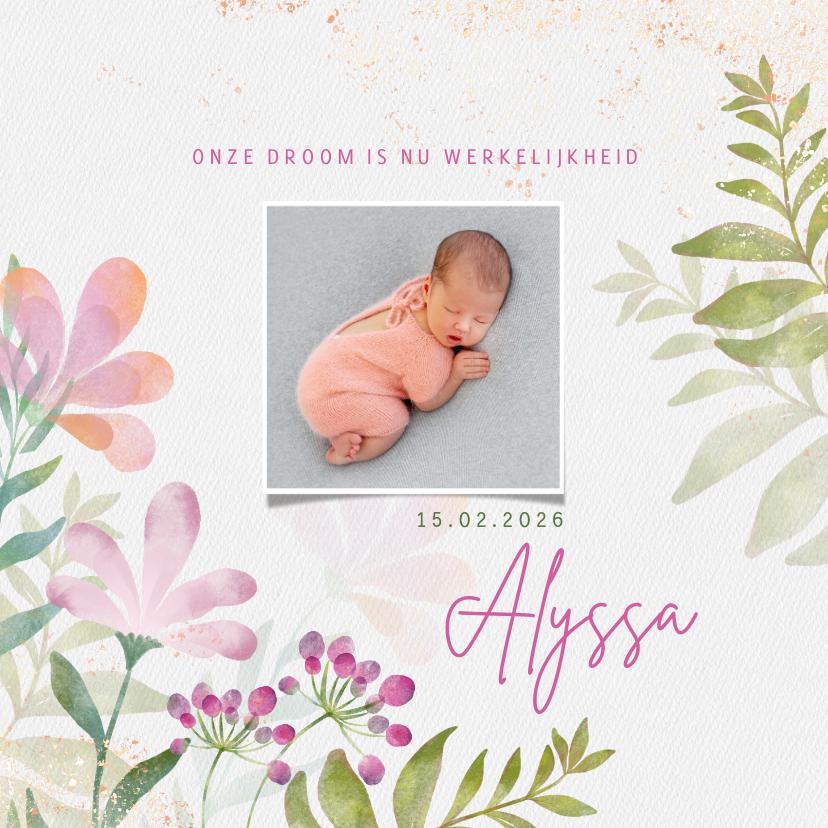 Geboortekaartjes - Geboortekaart meisje aquarel bloemen en foto