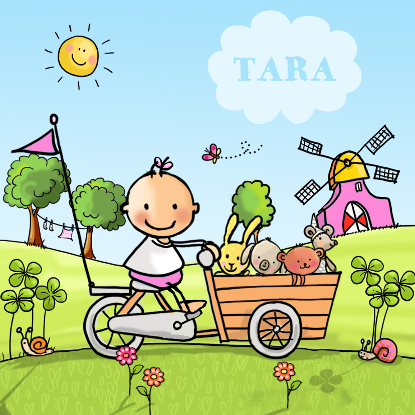 Geboortekaartjes - Geboortekaart meisje bakfietsje